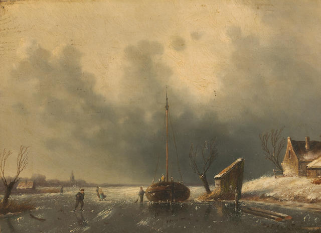 Charles Leickert (Dutch, 1816-1907) A winter landscape with a boat and figures on a frozen river 9 1/4 x 12 3/4in (23.5 x 32.4cm)