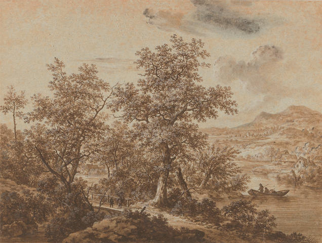 Follower of Antonio Waterloo, * Crispian * A wooded landscape and figures on a bidge, brown wash