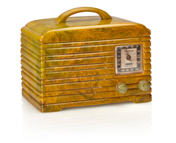 A Namco 601 1946 Marbleized green case with matching handle and clear knobs. height 6 3/4in (17.3cm); length 8in (20.4cm); depth 5 1/4in (13.4cm)