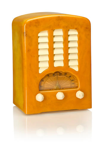 An Emerson BT245 Cathedral, yellow and white<BR />1938