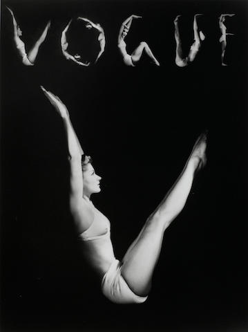 Horst P. Horst (Germany, 1906-1999), V.O.G.U.E. (Lisa Fonssagrives-Penn) New York, 1940, Gelatin silver print, 14 x 11 inches; Signed, titled & dated in pencil on verso; Photographer's embossed stamp on recto