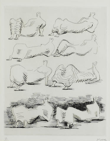 Henry Moore (1898-1986); Eight Draped Reclining Figures;