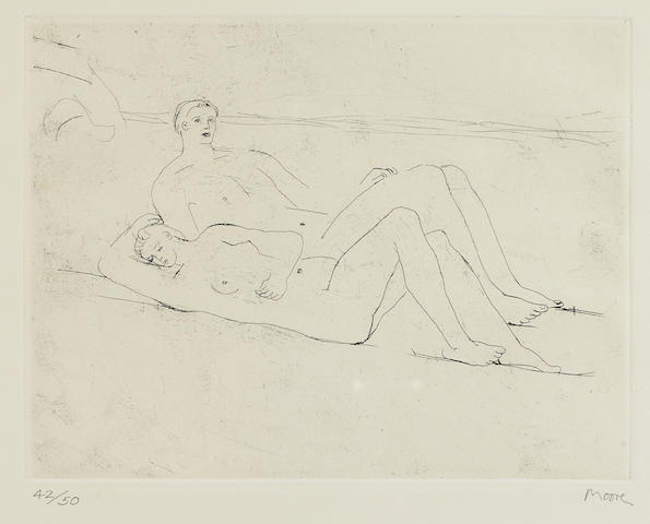 Henry Moore (1898-1986); Reclining Figures on Beach;