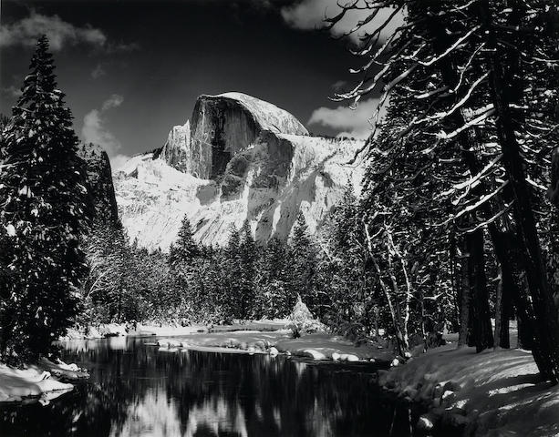 Ansel Adams (American, 1902-1984); Half Dome, Merced River, Winter, Yosemite Valley;
