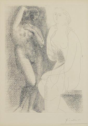 Pablo Picasso (1881-1973); Femme nue devant une Statue, Pl. 6, from La Suite Vollard;