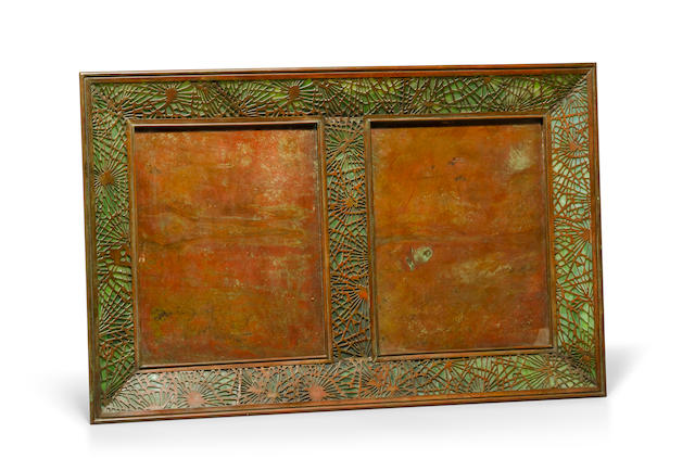 A rare Tiffany Studios Favrile glass and patinated bronze Pine Needle double picture frame 1899-1918