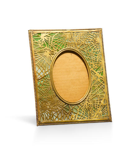 A Tiffany Studios Favrile glass and gilt-bronze Pine Needle picture frame 1899-1918