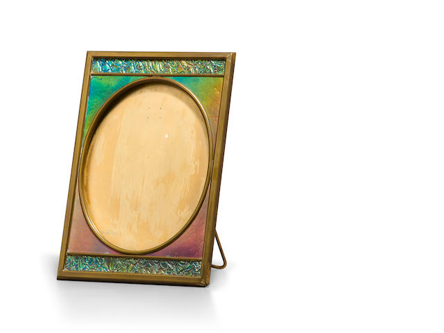 A Tiffany Furnaces Favrile glass and gilt-bronze picture frame 1899-1918