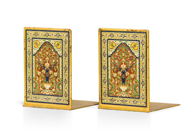A pair of Tiffany Studios gilt and enameled bronze Persian Carpet bookends 1899-1918