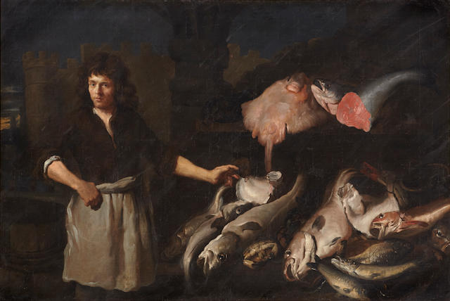 Attributed to Samuel Hoffman (Swiss, 1592-1648) The fishmonger 54 x 79 1/2in (137.2 x 202cm)