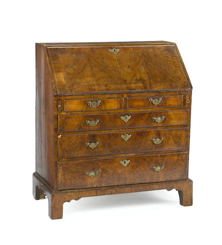 A George II walnut desk  second quarter 18th century