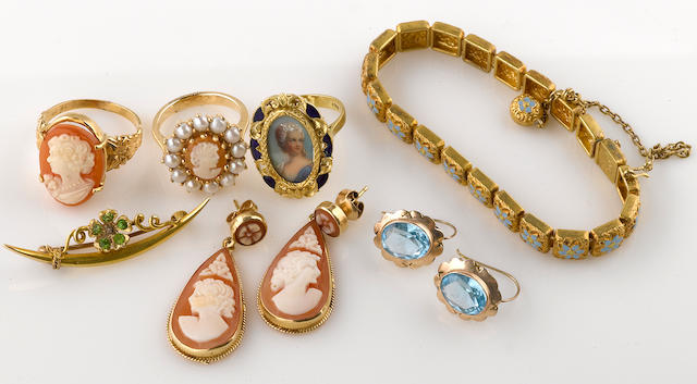 A collection of carved cameo, cultured pearl, paste, enamel, silver, and various karat gold jewelry