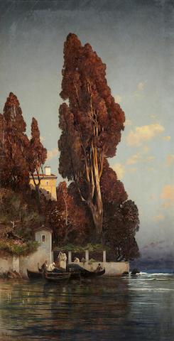 Hermann David Salomon Corrodi (Italian, 1844-1905) A villa in Venice 65 x 33 3/4in (165.1 x 85.7cm)