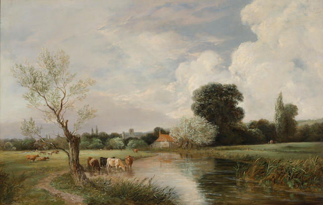 George Cole (British, 1810-1885) Backwater, Windsor 18 x 28in
