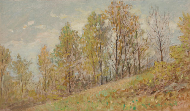 Hugh Newell (American, 1830-1915) Path through a verdant landscape; Tree lined hill (a pair) first 8 1/4 x 14 1/4in; second 8 1/2 x 14 1/4in