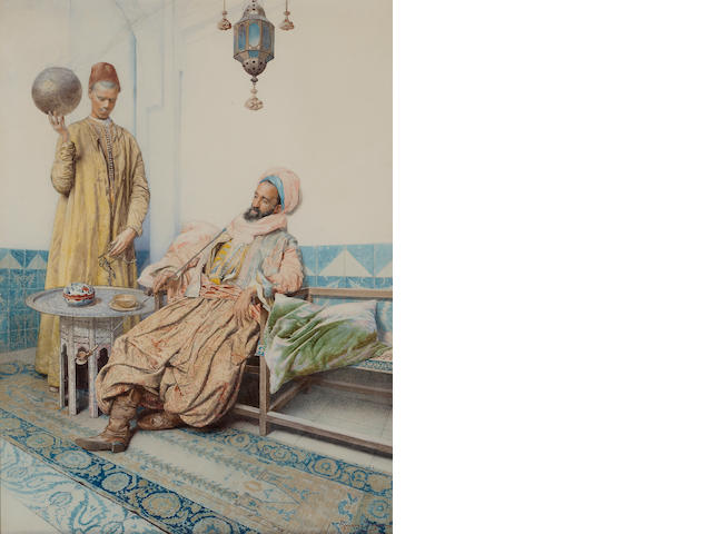 Giuseppe Signorini (Italian, 1857-1932) An Arab gentleman smoking with his servant in attendance 26 3/4 x 20in (68 x 50.8cm)