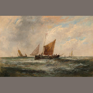 English School, 19th Century Fishing boats in choppy waters 20 x 29 3/4in (50.8 x 75.6cm)