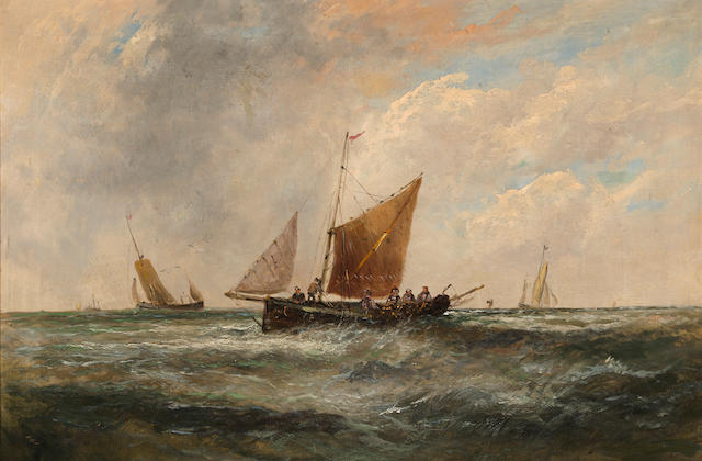 English School, 19th Century Fishing boats in choppy waters 20 x 29 3/4in