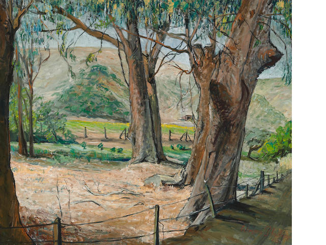 Werner Philipp (American, 1897-1982) Eucalyptus along a country road, 1951 20 x 24 1/4in