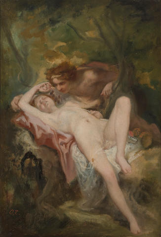 Attributed to Nicolas François Octave Tassaert (French, 1800-1874) A nymph and a satyr in the woods 14 1/2 x 10in (36.8 x 25.3cm)