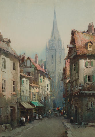 Noel Harry Leaver, ARCA (British, 1889-1951) A busy street near a cathedral sight 10 1/4 x 7 1/4in