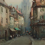 Noel Harry Leaver, ARCA (British, 1889-1951) A busy street near a cathedral sight 10 1/4 x 7 1/4in (26 x 18.4cm)