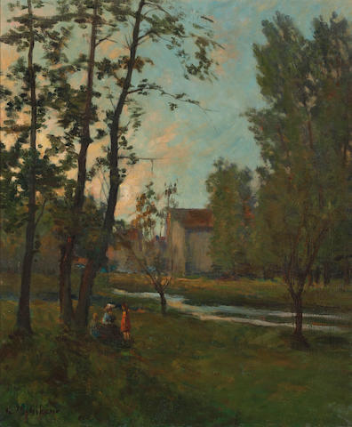 Clarence M. Gihon (American, 1871-1929) Figures by a river 25 3/4 x 21 1/2in