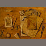 Italian School, 17th century Trompe l'oeil with musical score, drawings and keys 20 x 29in (51 x 73.8cm)