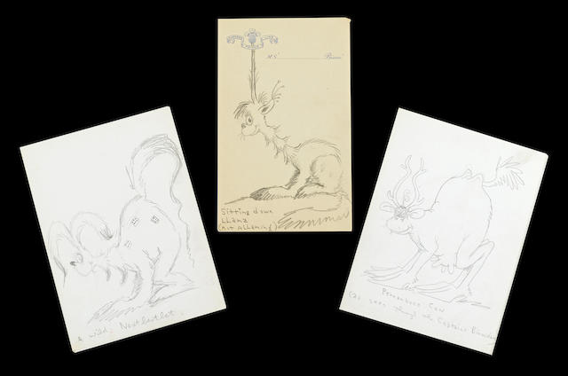 GEISEL, THEODORE. 1904-1991.  A group of pencil sketches, 77 x 110 to 146 x 196 mm,