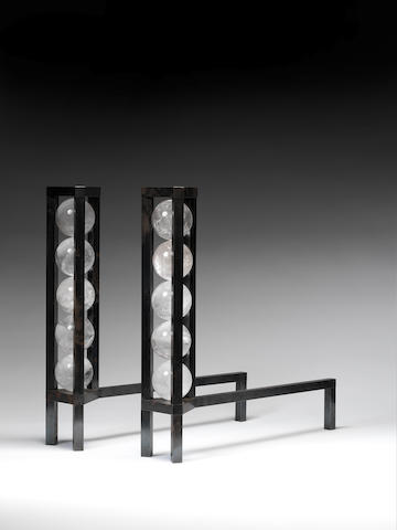 Paul Belvoir A Pair of Andirons 2011  steel and rock crystal stamped BELVOIR  21 1/4 x 21 7/8 x 4 1/2 in. 54 x 55.5 x 11.5 cm.