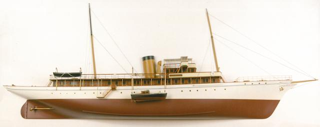 A mirrored back presentation half model of the steam yacht Lyndonia  69 x 27-1/4 x 10-1/4 in. (175.2 x 69.2 x 26 cm.) cased.