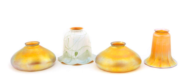 A group of four American art glass shades early 20th Century