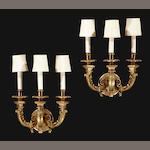 A pair of Baroque style gilt bronze three light sconces<BR /> Reed & Barton<BR /> second quarter 20th century