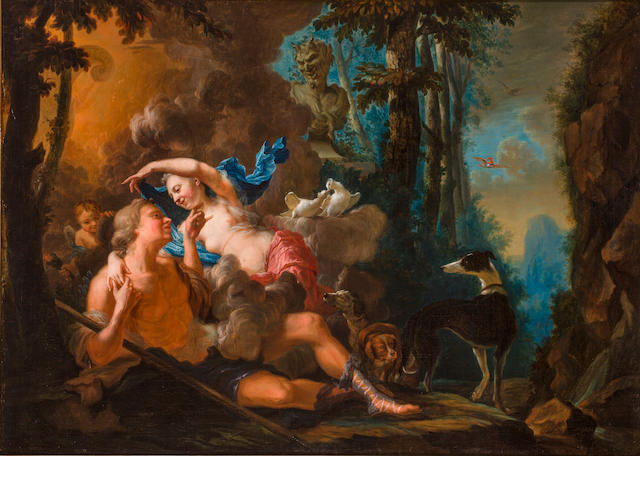 French School, 18th century Amor and Psyche 34 x 47 1/2in (86.5 x 120.8cm)