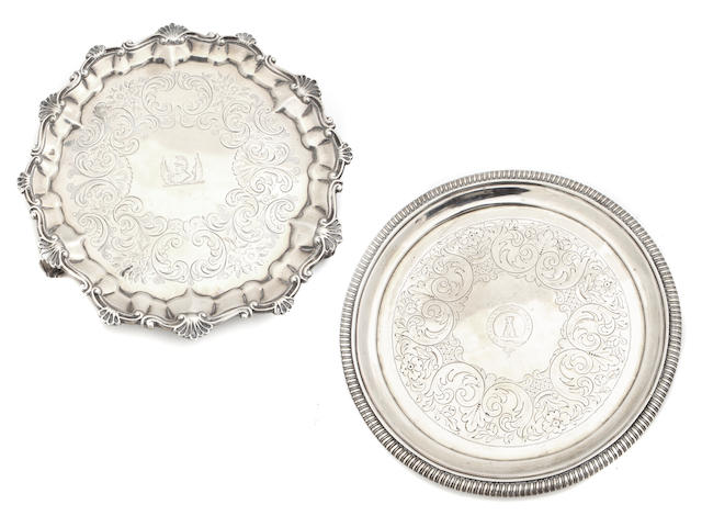 Two English  sterling silver  salvers One George III by Thomas Hannam & John Crouch II, London, 1804; the other Victorian, by George John Richards,  1852