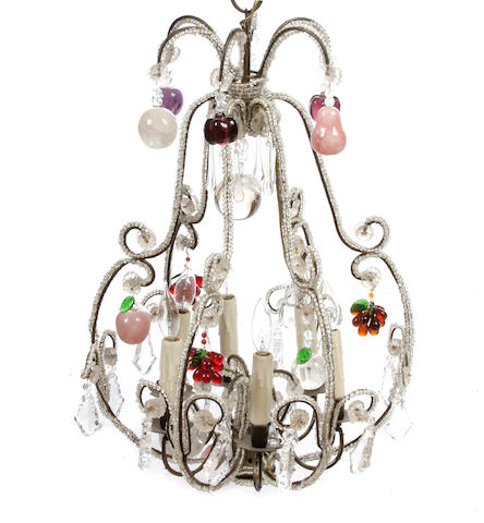An Italian Neoclassical style glass six light chandelier