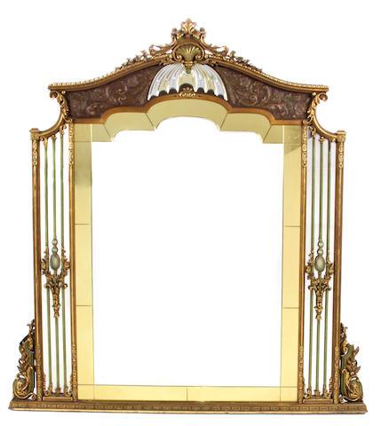 A Belle Époque style paint decorated mirror