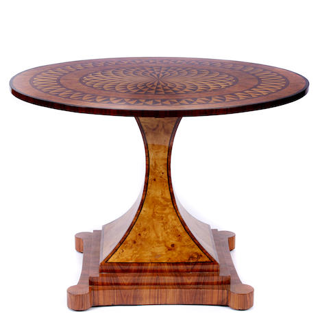 An Art Deco style parquetry center table