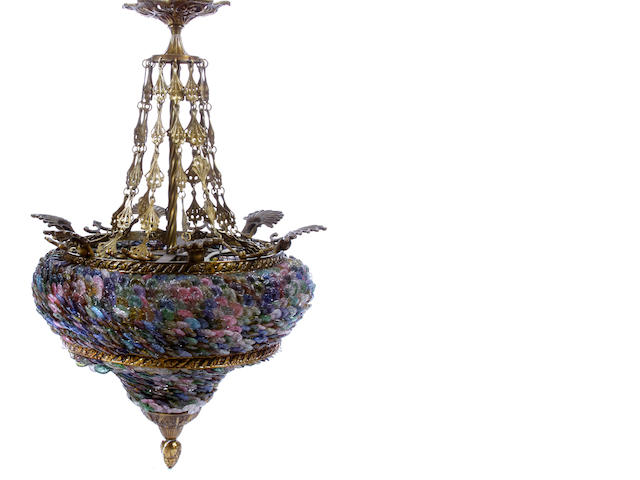 An Italian Neoclassical style bronze and colored glass chandelier