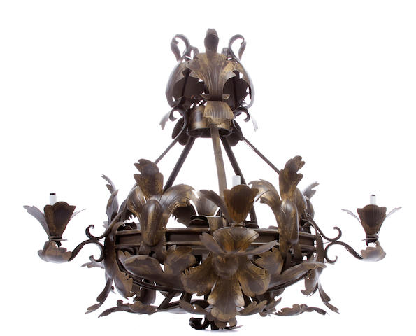 A large Rococo style iron chandelier