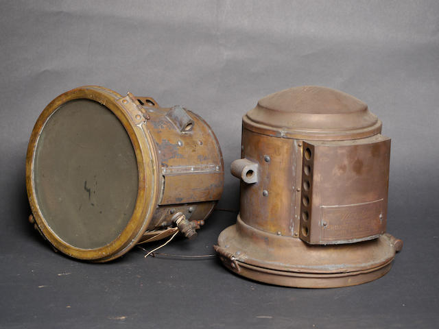 A good set of Never-Out gas lamps for a Stearns automobile,