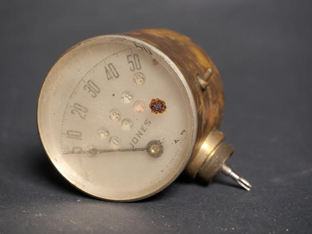 A Jones brass 50mph speedometer.