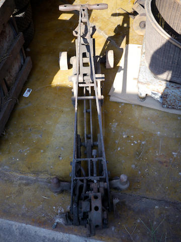 A large mechanical floor jack from the duPont Motors factory.