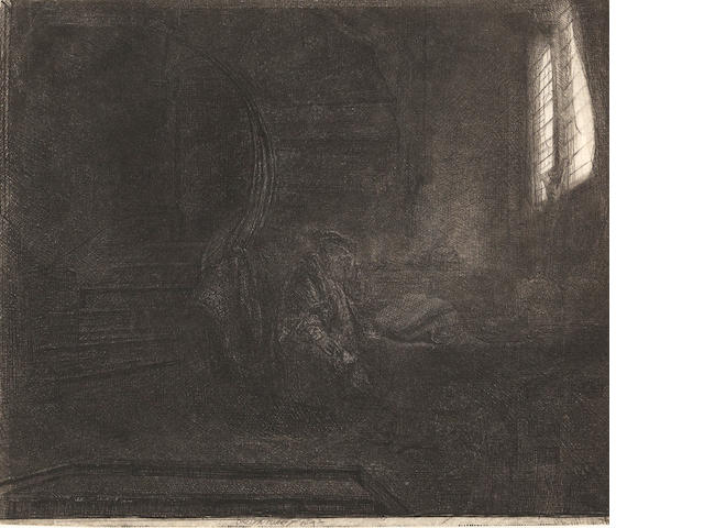 Rembrandt Harmensz van Rijn (1606-1669); *Stacy still working on* St. Jerome in a Dark Chamber;