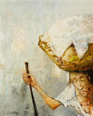 Jean Jansem (French, born 1920) Femme au panier 16 1/8 x 13 3/8 in. (41 x 34cm)
