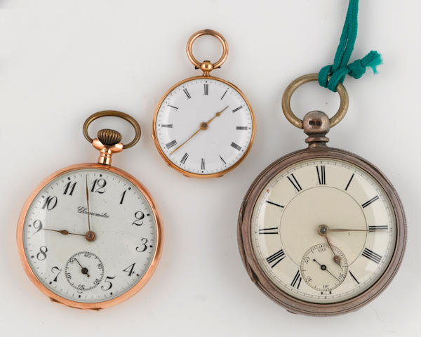 A collection of three 14k, metal and silver open face pocket watches