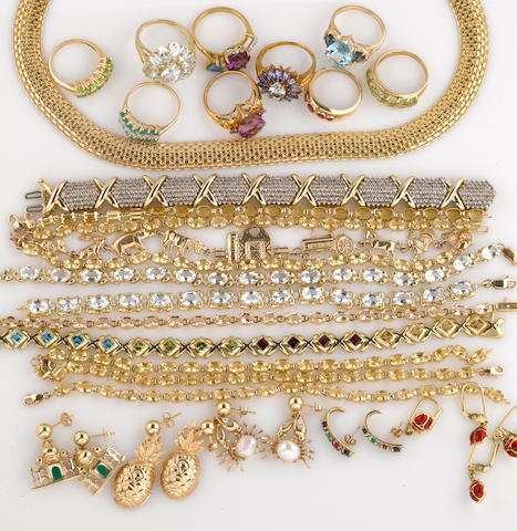 A collection of gem-set, cultured pearl, diamond, enamel and 10k gold jewelry