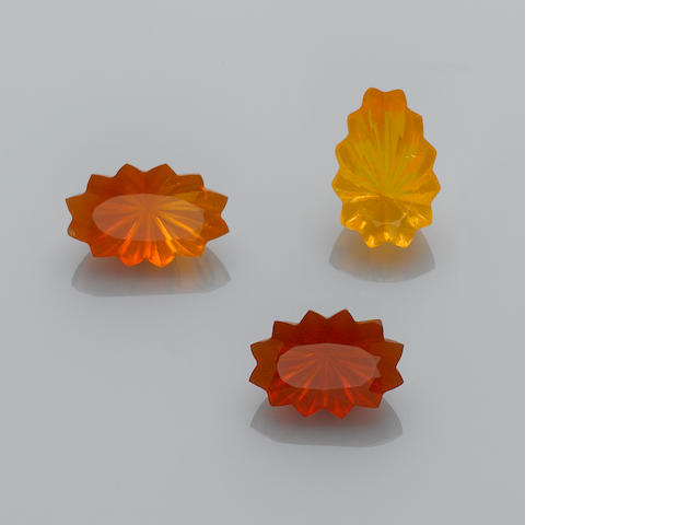 Three Carved Fire Opals