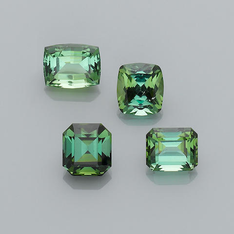 Group of Four Green Tourmalines
