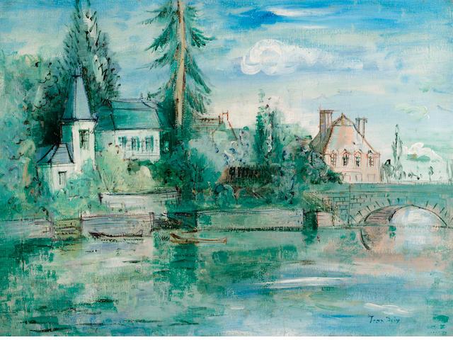 Jean Dufy (French, 1888-1964) La maison Perrier à Preuilly-sur-Claise 21 1/4 x 28 3/4in. (54cm x 73cm)